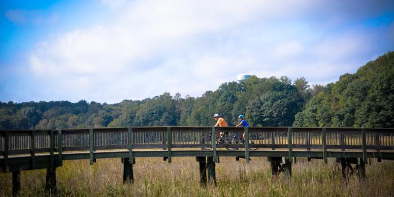 Cycling on the Chesapeake Beach Railway Trail